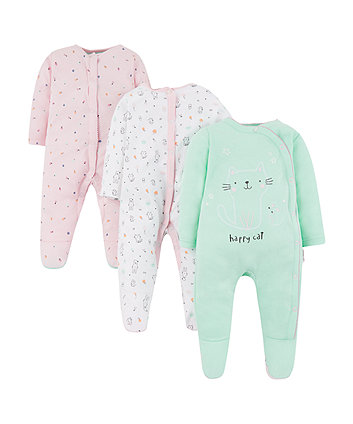 Mothercare Happy Cat Sleepsuits - 3 Pack