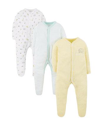 Yellow Elephant Sleepsuits - 3 Pack