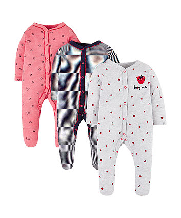 Strawberry Sleepsuits - 3 Pack