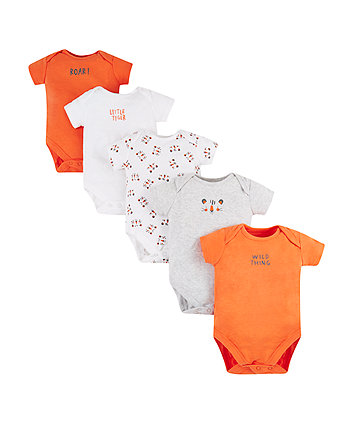 Mothercare Tiger Bodysuits - 5 Pack