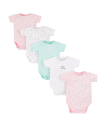 Mothercare Cat And Bunny Bodysuits - 5 Pack