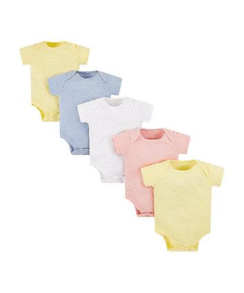 Pastel Pointelle Bodysuits - 5 Pack