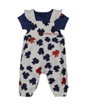 Mothercare Disney Baby Minnie Mouse Dungarees And Bodysuit Set