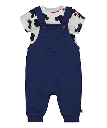 Mothercare Disney Baby Mickey Mouse Dungarees And Bodysuit Set