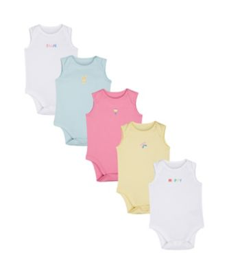Mothercare Brights Girl Butterfly Bodysuits - 5 Pack
