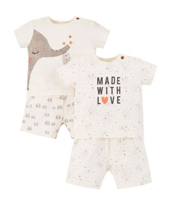 Mothercare Elephant And Made With Love Shortie Pyjamas � 2 Pack