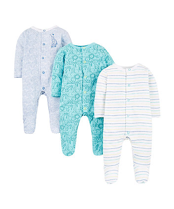 Mothercare Jungle Animals Sleepsuits – 3 Pack