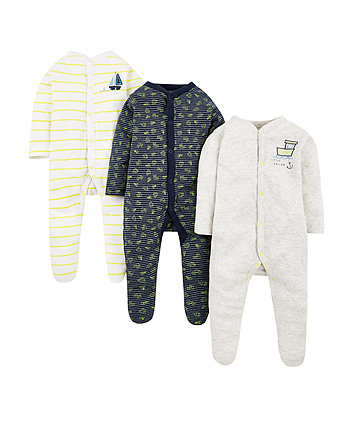 Boat Sleepsuits - 3 Pack