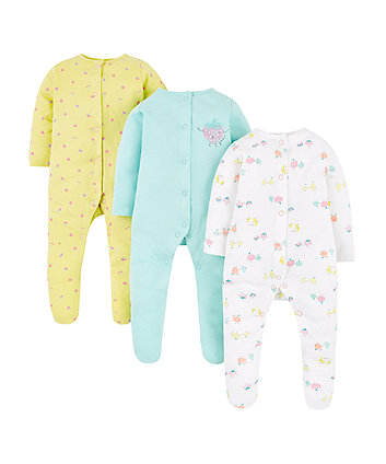 Mothercare Fruits Sleepsuits – 3 Pack