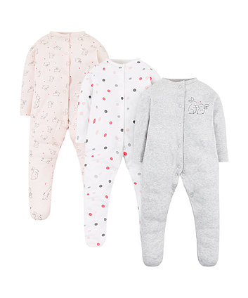 Mothercare Sweet Dreams Bunny Sleepsuits – 3 Pack