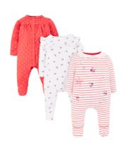 Mothercare Seaside Stripe, Floral And Heart Sleepsuits – 3 Pack