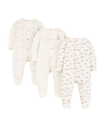 Mothercare Elephant Sleepsuits – 3 Pack