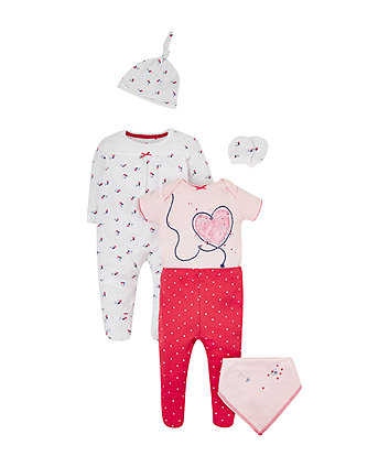 Mothercare Seaside Floral And Hearts 6-Piece Set