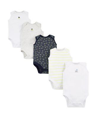 Mothercare Boys Boat Sleeveless Bodysuits 5 Pack