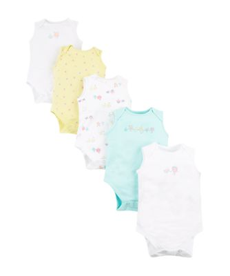 Mothercare Girls Fruits Sleeveless Bodysuits - 5 Pack