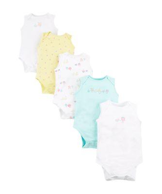 Mothercare Girls Fruits Sleeveless Bodysuits - 5 Pack