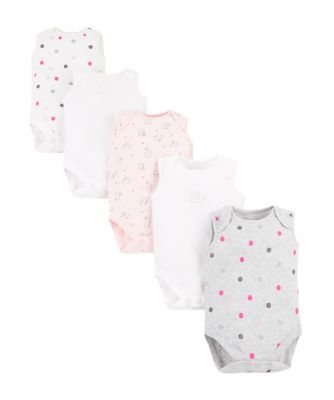 Mothercare Girls Sweet Dreams Bunny Sleeveless Bodysuits � 5 Pack