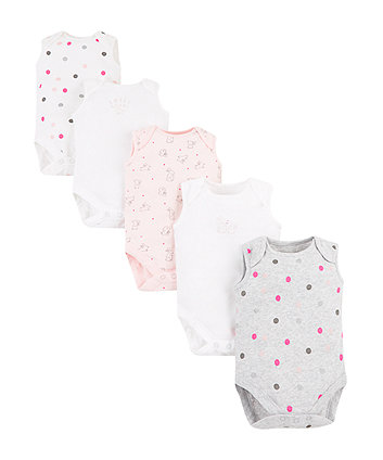 Mothercare Sweet Dreams Bunny Bodysuits – 5 Pack