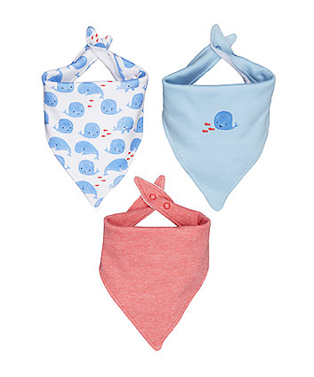 Mothercare Whale Bibs - 3 Pack