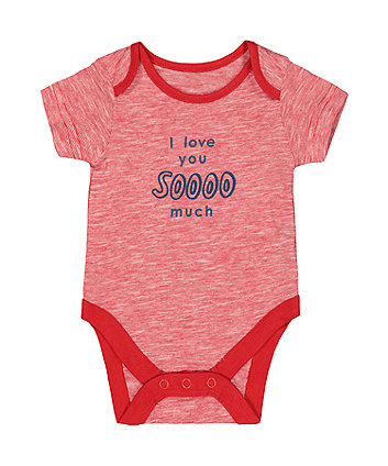 Mothercare I Love You So Much Red Stripe Bodysuit