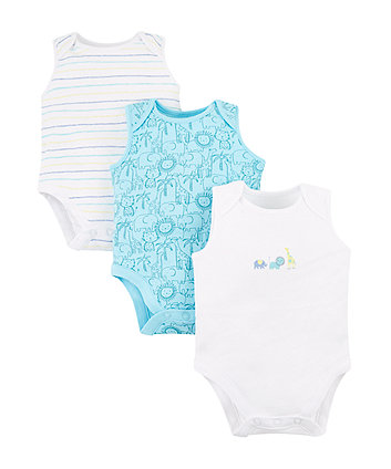Mothercare Safari Animal Bodysuits - 3 Pack