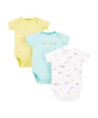Mothercare Girls Sleepy Fruit Bodysuits - 3 Pack