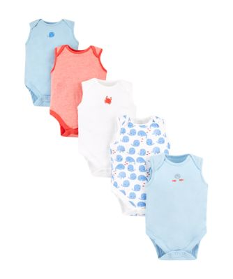 Mothercare Boys Whale Sleeveless Bodysuits � 5 Pack