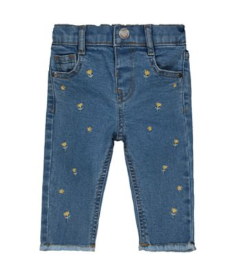 Mothercare Good Vibes Embroidered Frayed Skinny Jeans