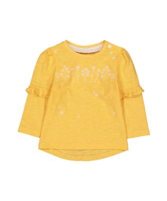 Mothercare Good Vibes Yellow Embroidered Frill Long Sleeve T-Shirt