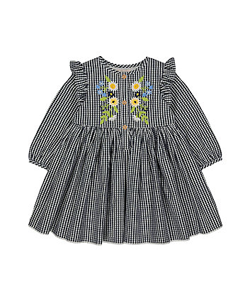 Mothercare Flower Embroidery Blue Check Dress