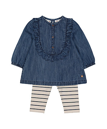 Mothercare Denim Blouse And Striped Leggings Set