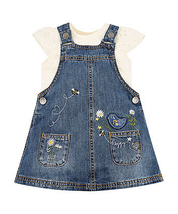 Mothercare Floral Blue Denim Pinny And White T-Shirt Set