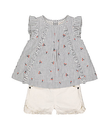 Mothercare Embroidered Stripe T-Shirt And White Frill Shorts