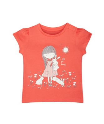Mothercare Fantastic Trip Girl And Bunnies Coral Short Sleeve T-Shirt