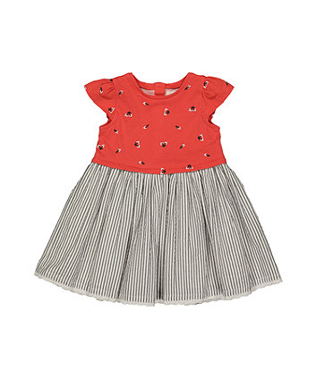 Mothercare Flowers And Stripes Twofer Dress