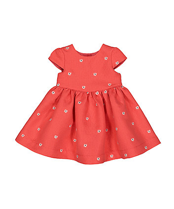 Mothercare Coral Embroidered Jacquard Dress