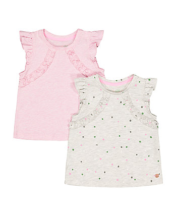 Spot Grey Marl And Pink Vests - 2 Pack