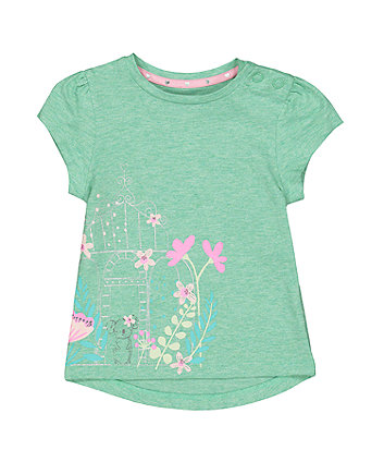 Koala And Flowers Green T-Shirt