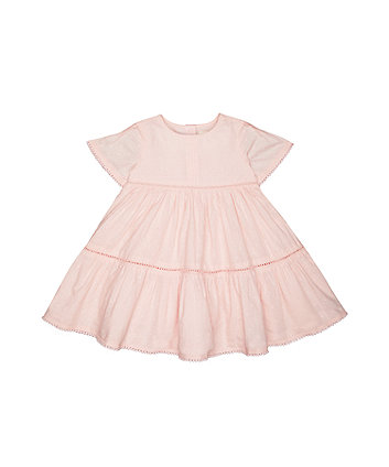 Mothercare Pink Marl Dobby Frill Dress