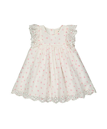 White Broderie Floral Dress