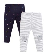 Striped Heart Leggings - 2 Pack