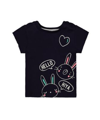 Mothercare MC61 Hello Bunny Navy Short Sleeve T-Shirt