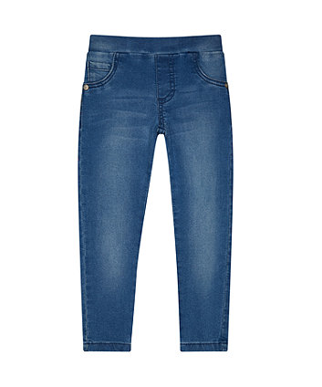 Mid-Wash Denim-Look Jeggings