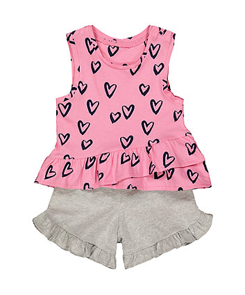 Mothercare Pink Heart Vest And Shorts Set