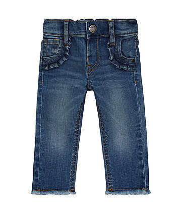 Mothercare Light-Wash Frayed Skinny Jeans