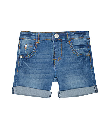 Light-Wash Denim Roll-Up Shorts