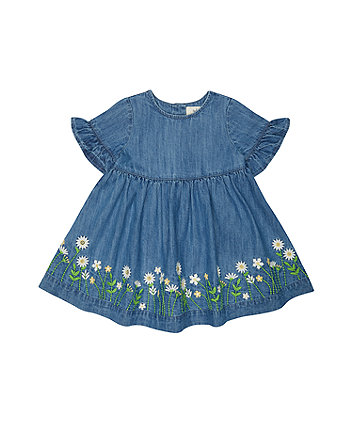 Mothercare Floral Blue Denim Dress
