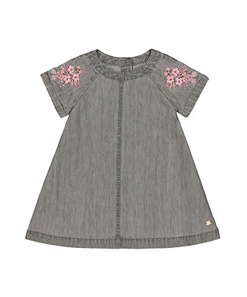 Grey Denim Embroidered Dress