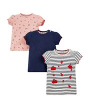 Pink, Navy Pointelle And Striped Cherry T-Shirts - 3 Pack
