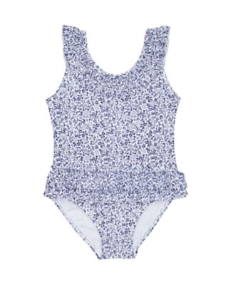 Mothercare White And Blue Floral Frill Swimsuit